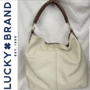 Lucky BrandShoulder Whipstitch Brown Leather Hobo